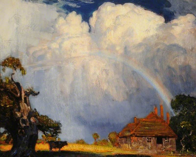 Painting of a rainbow over a farm house